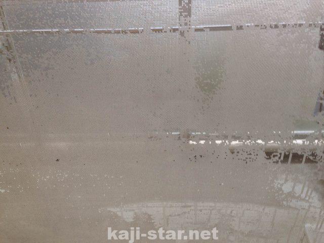 網戸の内側にスプレーボトルで重曹水をふきかける